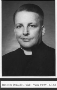 Feick, The Rev. Don H. 1959-1962